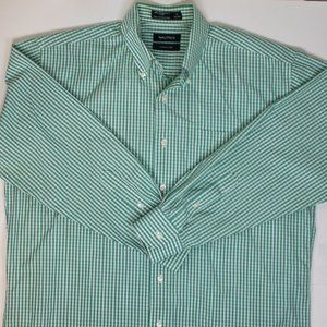 Nautica Green Gingham Wrinkle Free Button Down